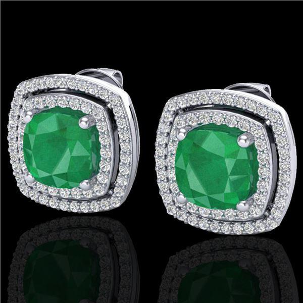 4.95 ctw Emerald & Micro Pave VS/SI Diamond Earrings 18k White Gold - REF-116K4Y