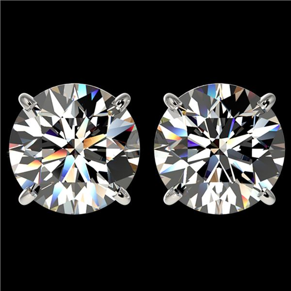 4 ctw Certified Diamond Solitaire Stud Earrings 10k White Gold - REF-862X5A