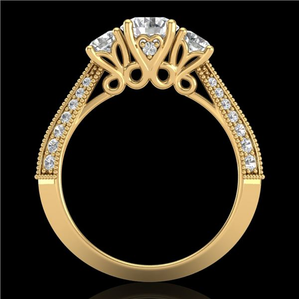 1.81 ctw VS/SI Diamond Art Deco 3 Stone Ring 18k Yellow Gold - REF-225X2A
