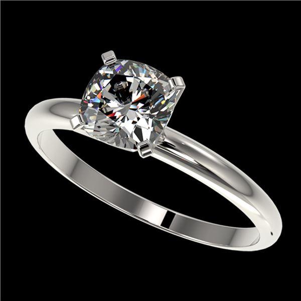 1 ctw Certified VS/SI Quality Cushion Cut Diamond Ring 10k White Gold - REF-243F2M