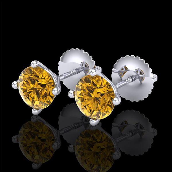 1.5 ctw Intense Fancy Yellow Diamond Art Deco Earrings 18k White Gold - REF-106H4R