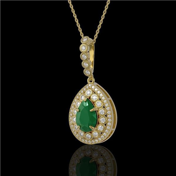 4.97 ctw Certified Emerald & Diamond Victorian Necklace 14K Yellow Gold - REF-178M2G