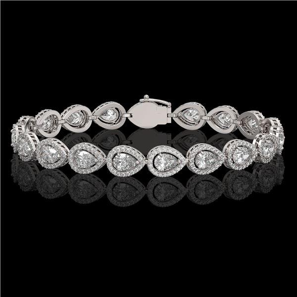 12.38 ctw Pear Cut Diamond Micro Pave Bracelet 18K White Gold - REF-1702H8R