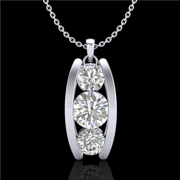 1.07 ctw VS/SI Diamond Solitaire Art Deco Stud Necklace 18k White Gold - REF-178H2R