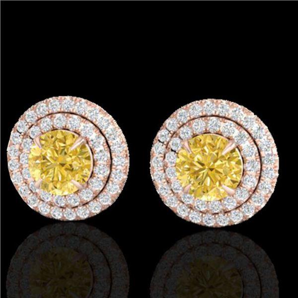 2 ctw Citrine & Micro Pave VS/SI Diamond Stud Earrings 14k Rose Gold - REF-79K8Y