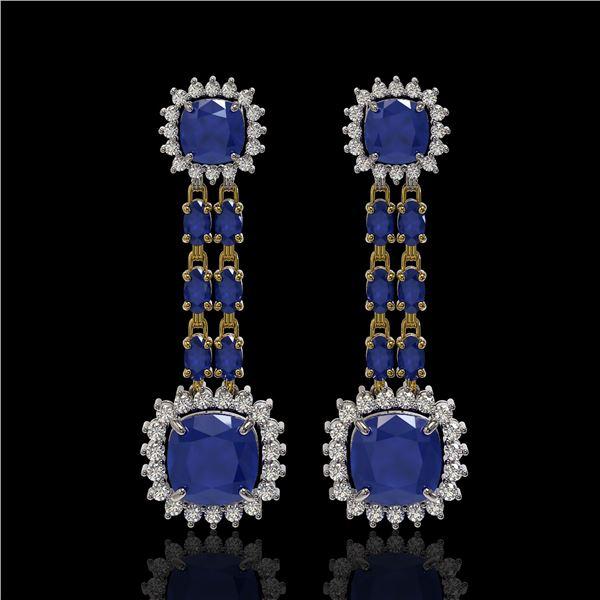 19.88 ctw Sapphire & Diamond Earrings 14K Yellow Gold - REF-336X4A