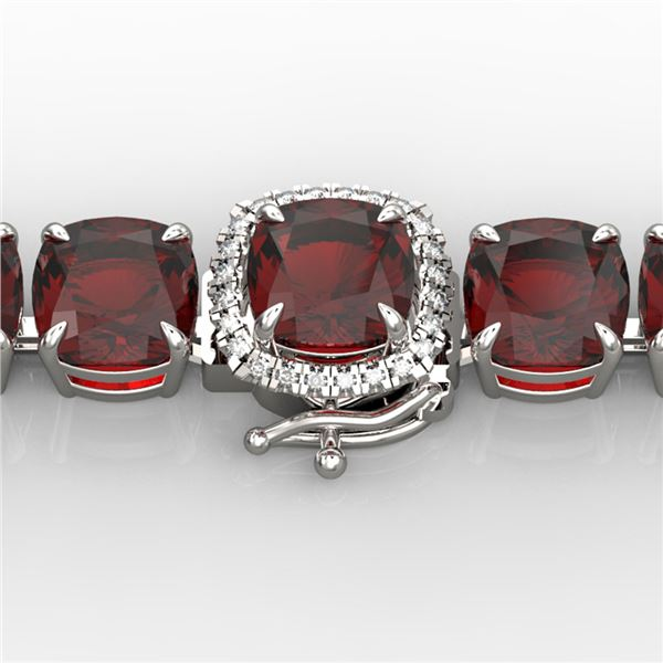 35 ctw Garnet & Micro VS/SI Diamond Bracelet 14k White Gold - REF-134N2F