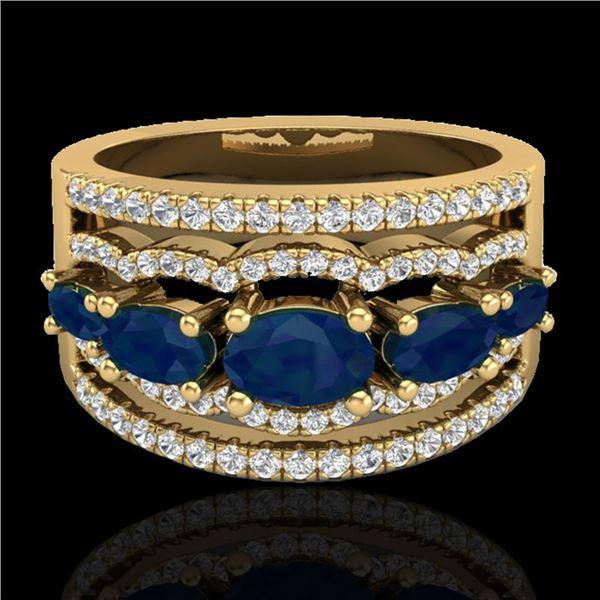 2.25 ctw Sapphire & Micro Pave VS/SI Diamond Designer Ring 10k Yellow Gold - REF-81H8R