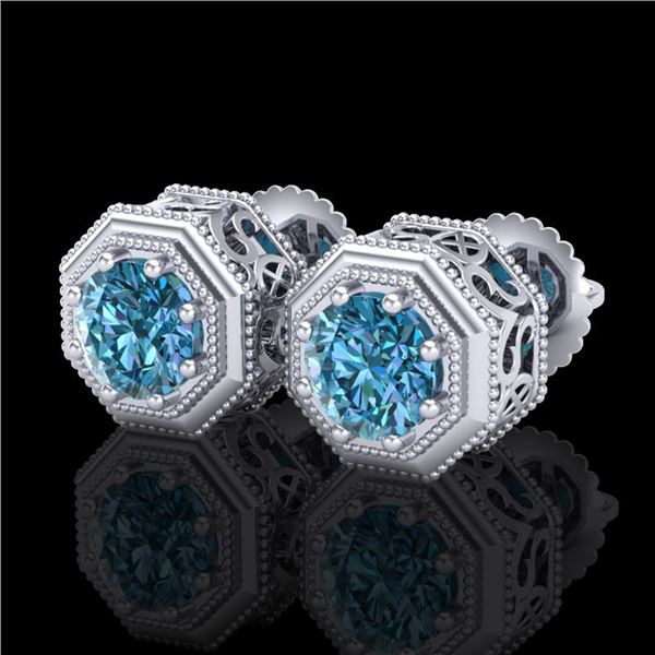 1.07 ctw Fancy Intense Blue Diamond Art Deco Earrings 18k White Gold - REF-118M2G