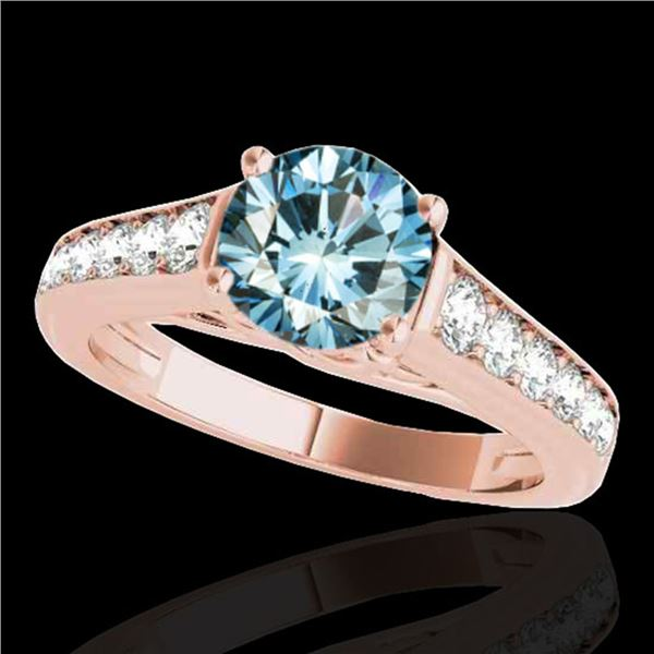 1.5 ctw SI Certified Fancy Blue Diamond Solitaire Ring 10k Rose Gold - REF-126H8R