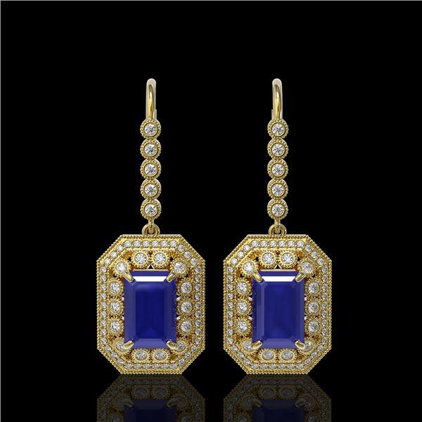 14.16 ctw Sapphire & Diamond Victorian Earrings 14K Yellow Gold - REF-318W2H