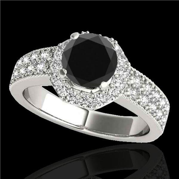 1.4 ctw Certified VS Black Diamond Solitaire Halo Ring 10k White Gold - REF-55W8H