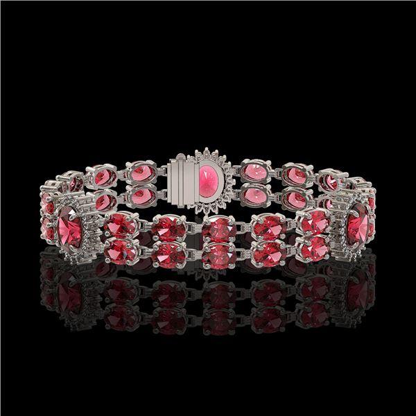 17.79 ctw Tourmaline & Diamond Bracelet 14K White Gold - REF-290F5M