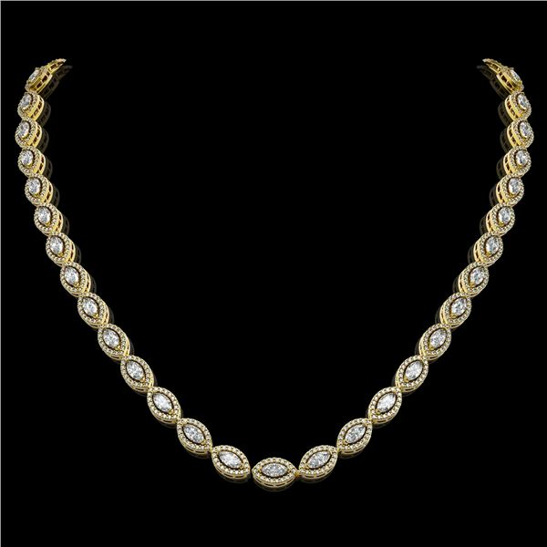 15.74 ctw Marquise Cut Diamond Micro Pave Necklace 18K Yellow Gold - REF-1363H3R