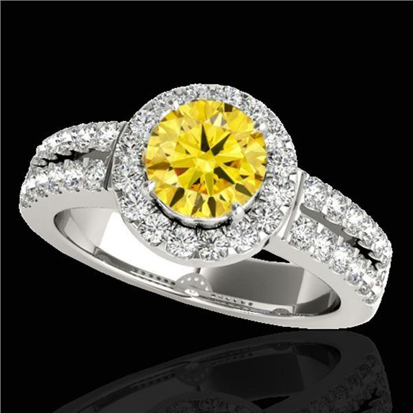 1.5 ctw Certified SI/I Fancy Intense Yellow Diamond Ring 10k White Gold - REF-218N2F