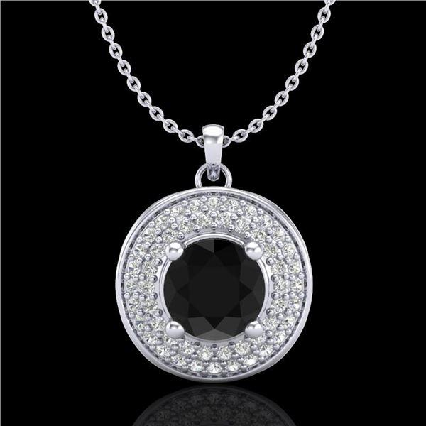1.25 ctw Fancy Black Diamond Art Deco Stud Necklace 18k White Gold - REF-83G6W