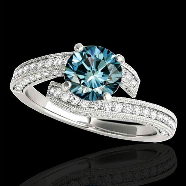 1.75 ctw SI Certified Fancy Blue Diamond Bypass Ring 10k White Gold - REF-135W2H