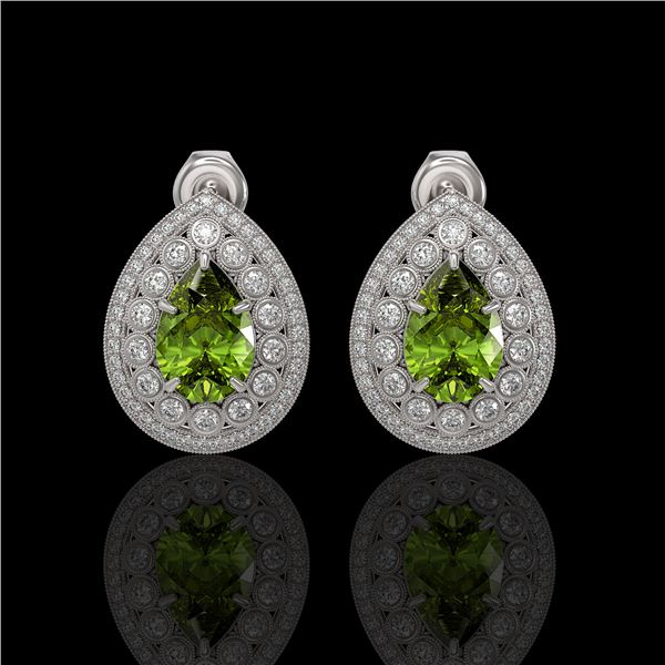 9.54 ctw Tourmaline & Diamond Victorian Earrings 14K White Gold - REF-225F8M