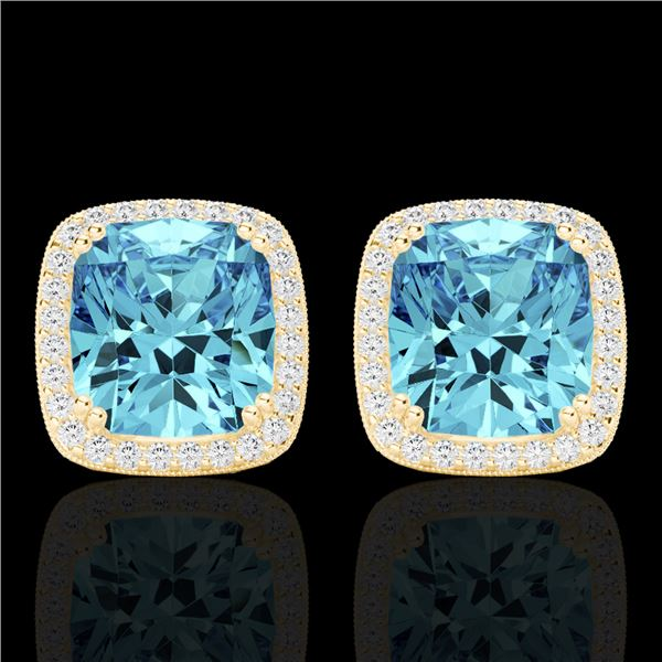 6.50 ctw Sky Blue Topaz & Micro VS/SI Diamond Earrings 18k Yellow Gold - REF-75R6K