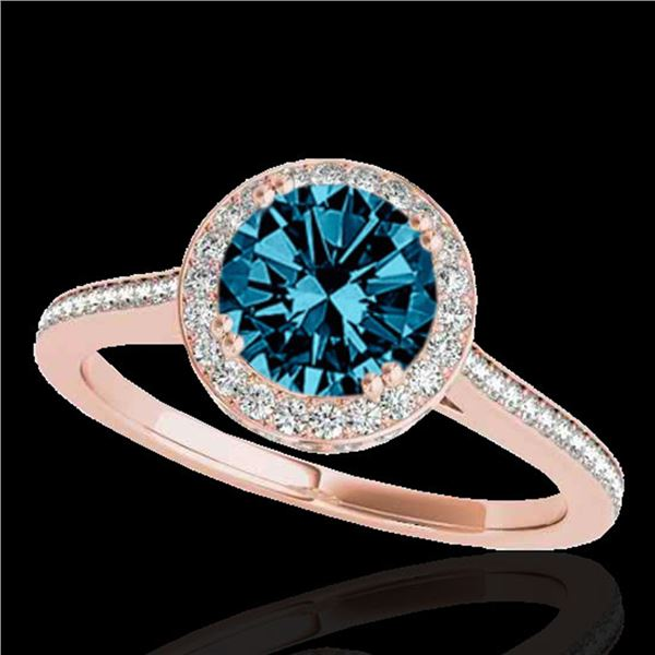 2.03 ctw SI Certified Fancy Blue Diamond Halo Ring 10k Rose Gold - REF-252Y3X