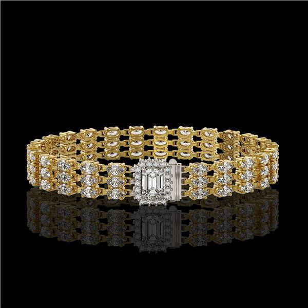 19.48 ctw Emerald Cut & Oval Diamond Bracelet 18K Yellow Gold - REF-2068M4G