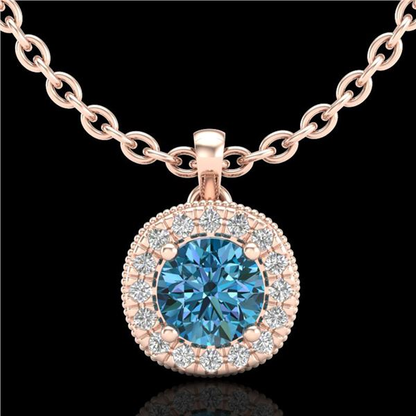 1.1 ctw Fancy Intense Blue Diamond Art Deco Necklace 18k Rose Gold - REF-136Y4X