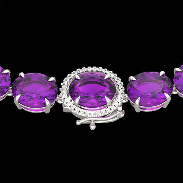 175 ctw Amethyst & Diamond Micro Eternity Necklace 14k White Gold - REF-483M6G