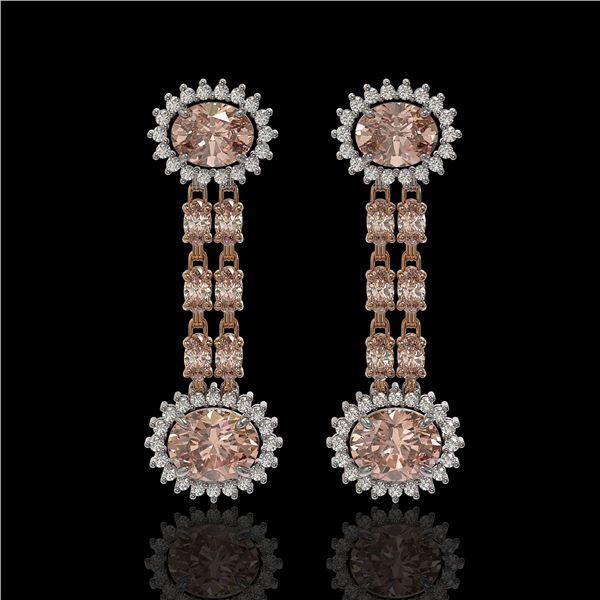 8.35 ctw Morganite & Diamond Earrings 14K Rose Gold - REF-227W3H