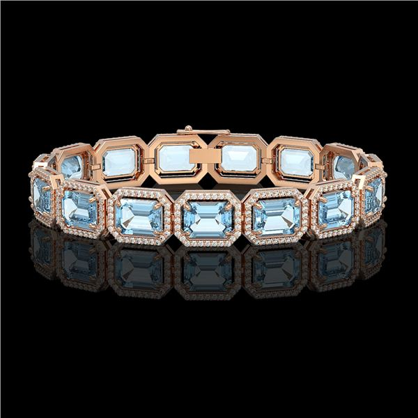 36.81 ctw Aquamarine & Diamond Micro Pave Halo Bracelet 10k Rose Gold - REF-600W4H