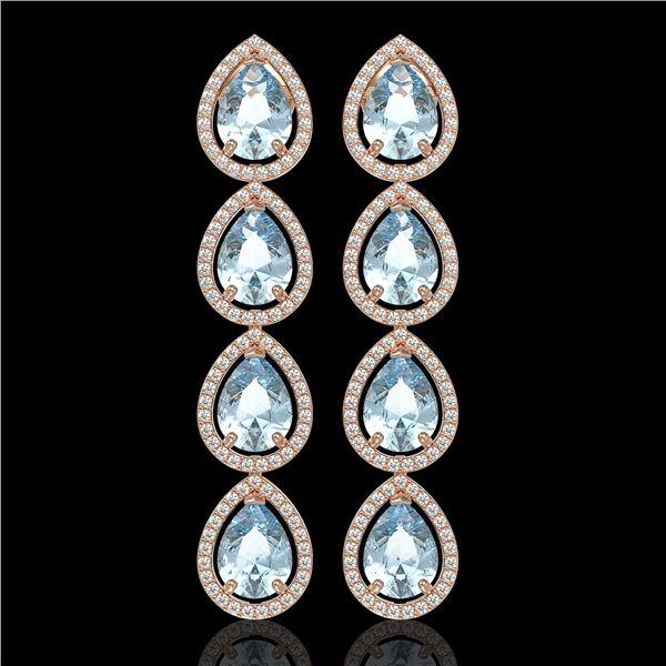 10.56 ctw Aquamarine & Diamond Micro Pave Halo Earrings 10k Rose Gold - REF-228W8H
