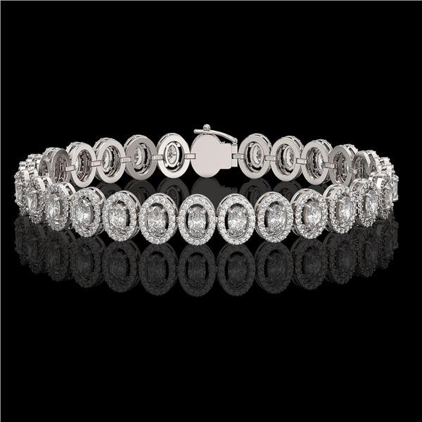 10.36 ctw Oval Cut Diamond Micro Pave Bracelet 18K White Gold - REF-898W6H