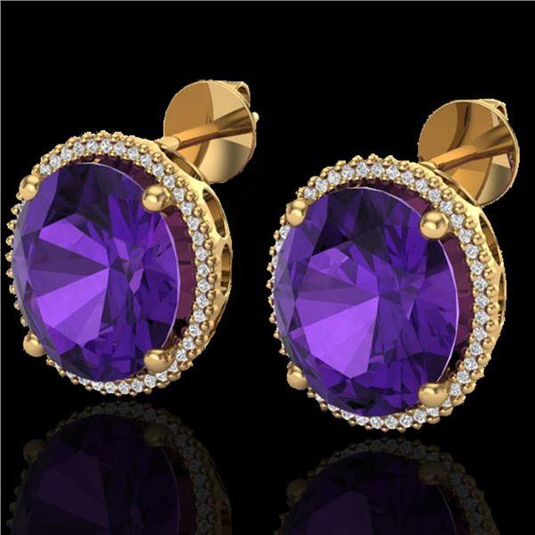 20 ctw Amethyst & Micro VS/SI Diamond Pave Earrings 18k Yellow Gold - REF-123G3W