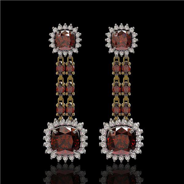18.92 ctw Garnet & Diamond Earrings 14K Yellow Gold - REF-231H5R