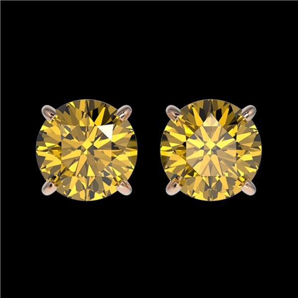 1.50 ctw Certified Intense Yellow Diamond Stud Earrings 10k Rose Gold - REF-157X3A
