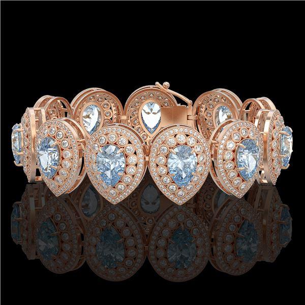 42.94 ctw Aquamarine & Diamond Victorian Bracelet 14K Rose Gold - REF-1722N9F