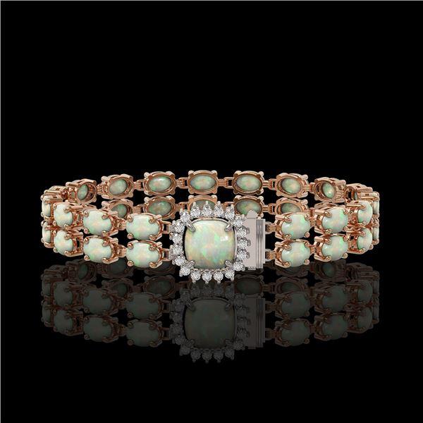 14.41 ctw Opal & Diamond Bracelet 14K Rose Gold - REF-245W5H
