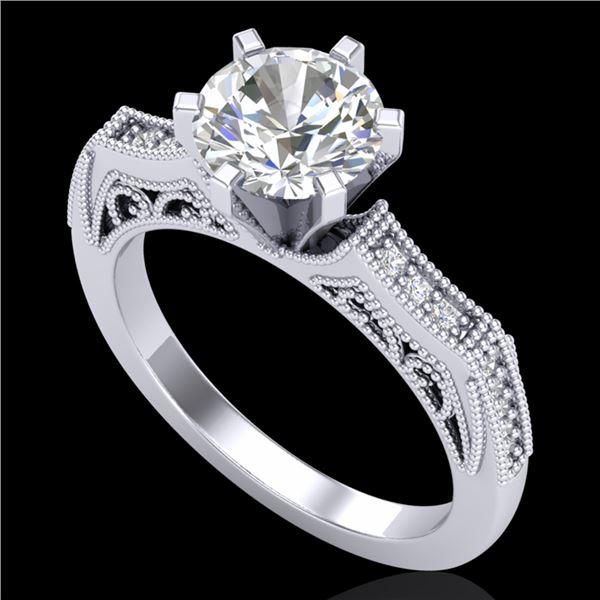 1.51 ctw VS/SI Diamond Solitaire Art Deco Ring 18k White Gold - REF-442X5A