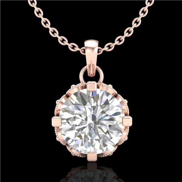 1.14 ctw VS/SI Diamond Solitaire Art Deco Stud Necklace 18k Rose Gold - REF-205F5M