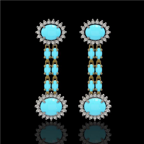 7.39 ctw Turquoise & Diamond Earrings 14K Yellow Gold - REF-143G3W
