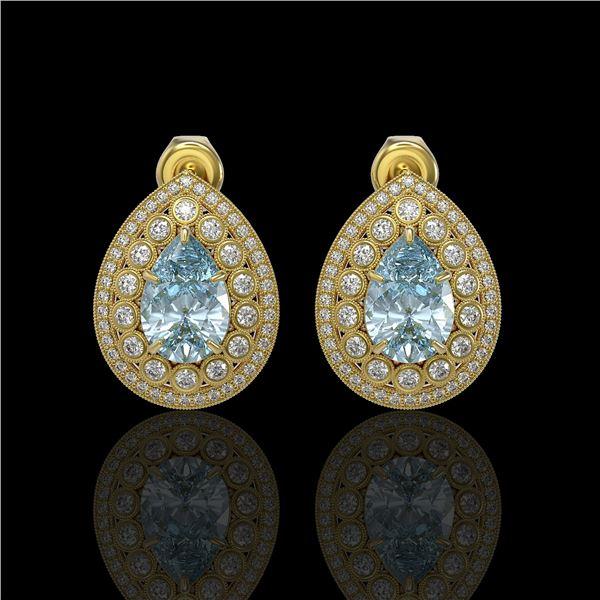 7.15 ctw Aquamarine & Diamond Victorian Earrings 14K Yellow Gold - REF-285Y8X