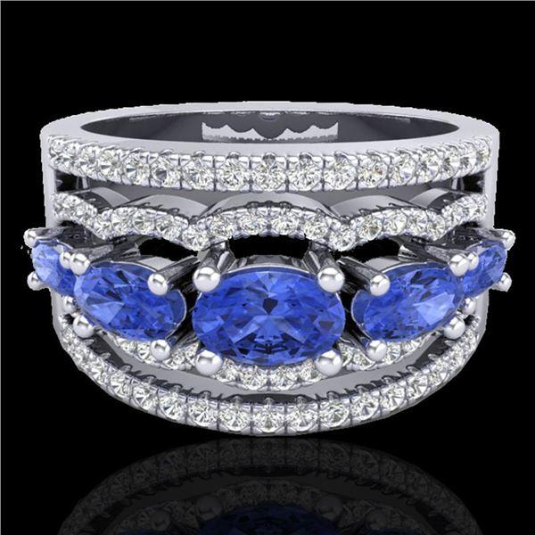 2.25 ctw Tanzanite & Micro Pave VS/SI Diamond Designer Ring 10k White Gold - REF-81G8W