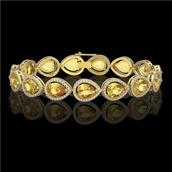 17.3 ctw Fancy Citrine & Diamond Micro Pave Halo Bracelet 10k Yellow Gold - REF-282M9G