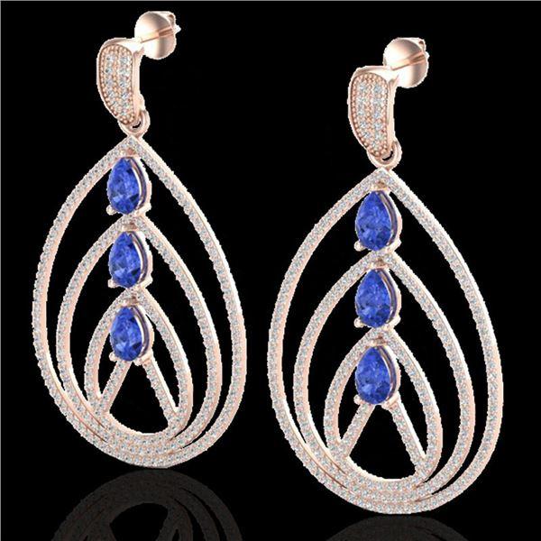 4 ctw Tanzanite & Micro Pave VS/SI Diamond Earrings 14k Rose Gold - REF-307X3A