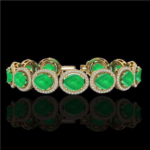 30 ctw Emerald & Micro Pave VS/SI Diamond Bracelet 10k Yellow Gold - REF-481R8K