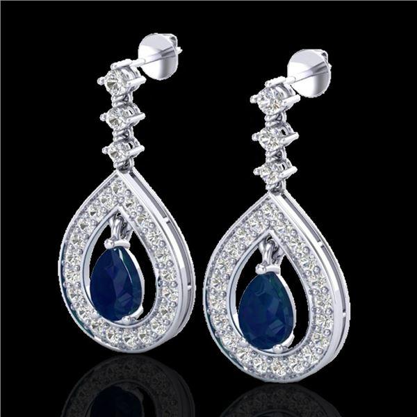 2.25 ctw Sapphire & Micro Pave VS/SI Diamond Earrings 14k White Gold - REF-105X5A