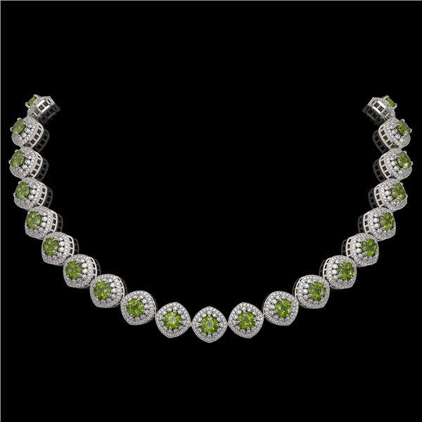72.27 ctw Tourmaline & Diamond Victorian Necklace 14K White Gold - REF-2169W8H