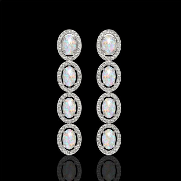 4.05 ctw Opal & Diamond Micro Pave Halo Earrings 10k White Gold - REF-143R6K