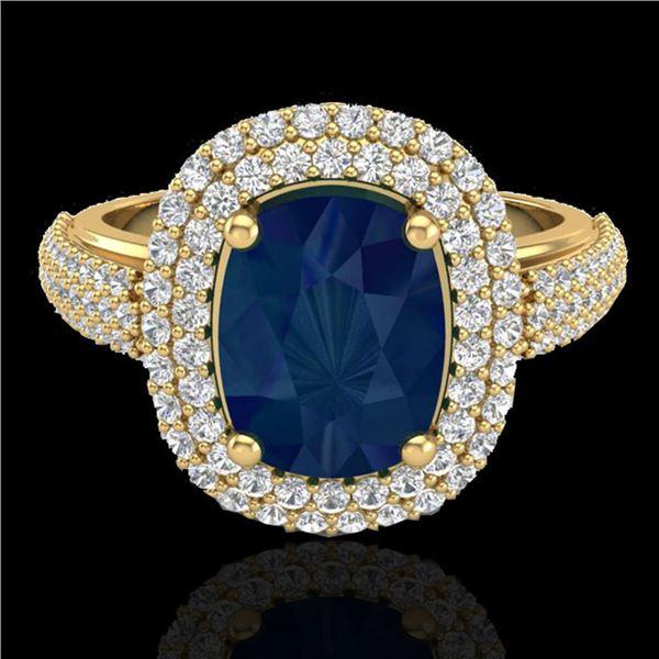 3.50 ctw Sapphire & Micro Pave VS/SI Diamond Ring 18k Yellow Gold - REF-143F6M