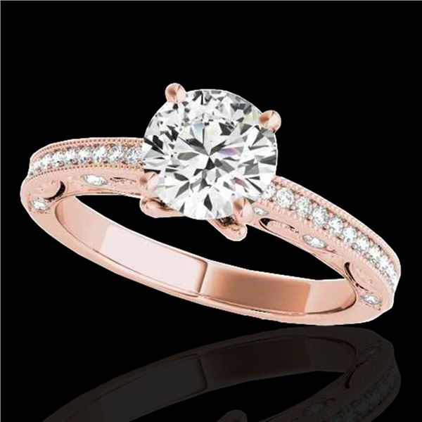 1.25 ctw Certified Diamond Solitaire Antique Ring 10k Rose Gold - REF-184A3N
