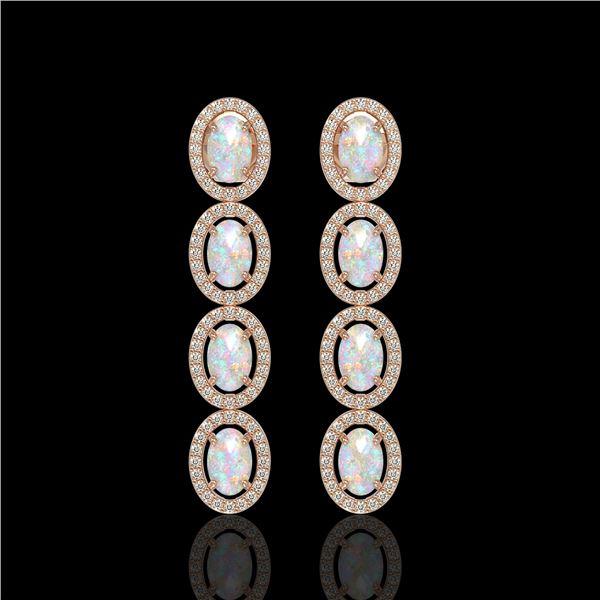 4.05 ctw Opal & Diamond Micro Pave Halo Earrings 10k Rose Gold - REF-143Y6X